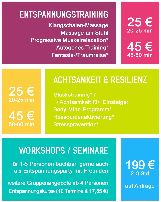 Preise Wassermann Wellness - Entspannung, Relaxen und Burnout-Prävention